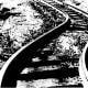 Railroad tracks near Bealvile, California, bent and twisted by the July 21, 1952, earthquake. (Photo from the National Geophysical Data Center.)