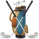 Golf bag and golf clubs clip art