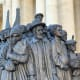Statue commemorating migrants in St. Peter's Square, The Vatican,