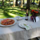 We chose pizza for our party.  Simple, something the birthday girl loves and easy to serve outdoors with very little cleanup.