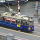 A tram on the bridge.