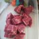 Cubed flat iron steak