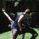 Attacker falls over defender's left hip