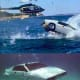 The Lotus Esprit diving in the water with an attacking helicopter, and after the Esprit's conversion to a submarine.  The Spy Who Loved Me.