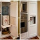 water cooler tucked behind wood cabinets - hidden filtered water