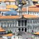 View of Palacio da Bolsa, Porto from Mosteiro da Serra de Pilar.