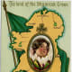Vintage St. Patrick's Day greeting cards: Pretty woman's portrait over Ireland map and vintage Irish flag