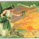 Vintage greeting card: Pretty woman dressed in white gown holding out shamrocks to the Irish sunset