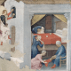 This 1425 painting by Gentile da Fabriano depicts St. Nicholas dropping off money for three sisters whose father could not afford to pay their dowries.