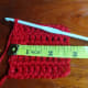 Gauge swatch: 5 rows of 10 dc's