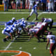 The Duke University Blue Devils at the line of scrimmage against the 2007 Virginia Tech Hokies football team October 2007.