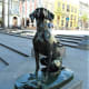 Dog statue in Plaza de Santa Ana.