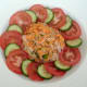 Turnip and carrot salad is carefully plated