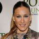 Sarah Jessica Parker's layered necklace style gives an extra edge to her nude dress