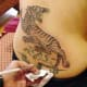 Close-up of a Thai tiger tattoo