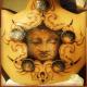 Wild tribal tattoo surrounding Buddha face