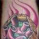 Color Tattoo of a Heart in a Coffin