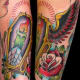 Color Tattoo of a Candle in a Coffin