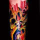 Color Tattoo of a Skull and a Coffin