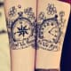 Compass and clock tattoo with text and flowers.