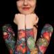 Full-sleeve cornucopia tattoos.