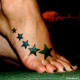 Stars running along the top of the foot, designed to show off a nice pair of heals