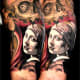 Unique 3/4 sleeve of a woman and skull