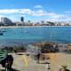 Playa de las Canteras stretches out beyond Restaurante La Marinera.