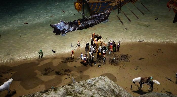 Un groupe de personnes pêchant à l'extérieur de Velia.  Ils pratiquent probablement la pêche automatique là-bas.