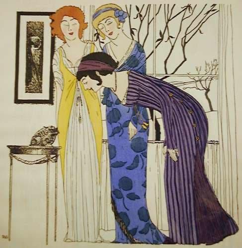 Esta ilustración de 1908 de Paul Iribe es de :a Coutoriere Parisienne