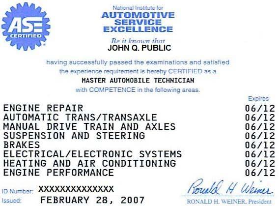 mechanic repair certificate automotive mechanics finding certificates example