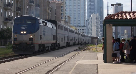 Amtrak's Texas Eagle with Superliner cars pulls into a station in Austin, Texas, in June of 2011.
