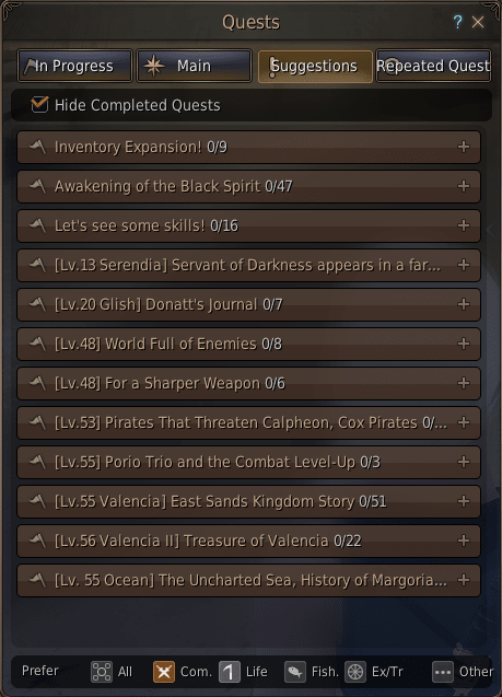 Une liste de quêtes importantes.  En bas, vous pouvez voir les six onglets qui ouvrent l'accès à toutes les quêtes de Black Desert Online.