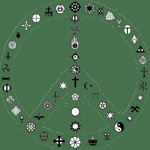 moyens des symboles religieux variés.symboles