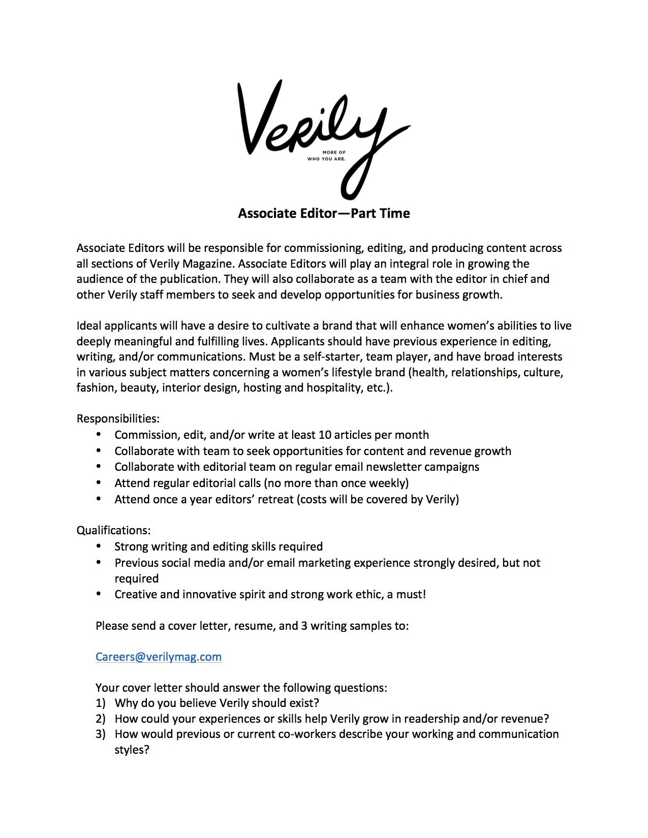 Content Editor Job Description | Introducing Our New Editor In Chief Verily