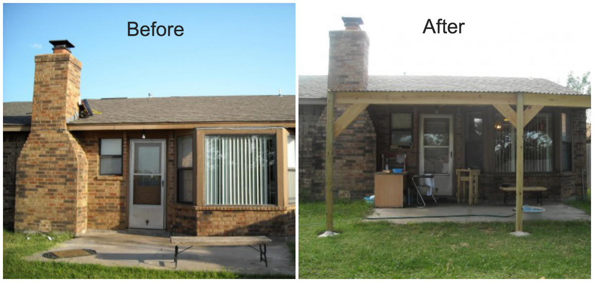 before and after building and installing the patio cover - How To Build A Patio Cover