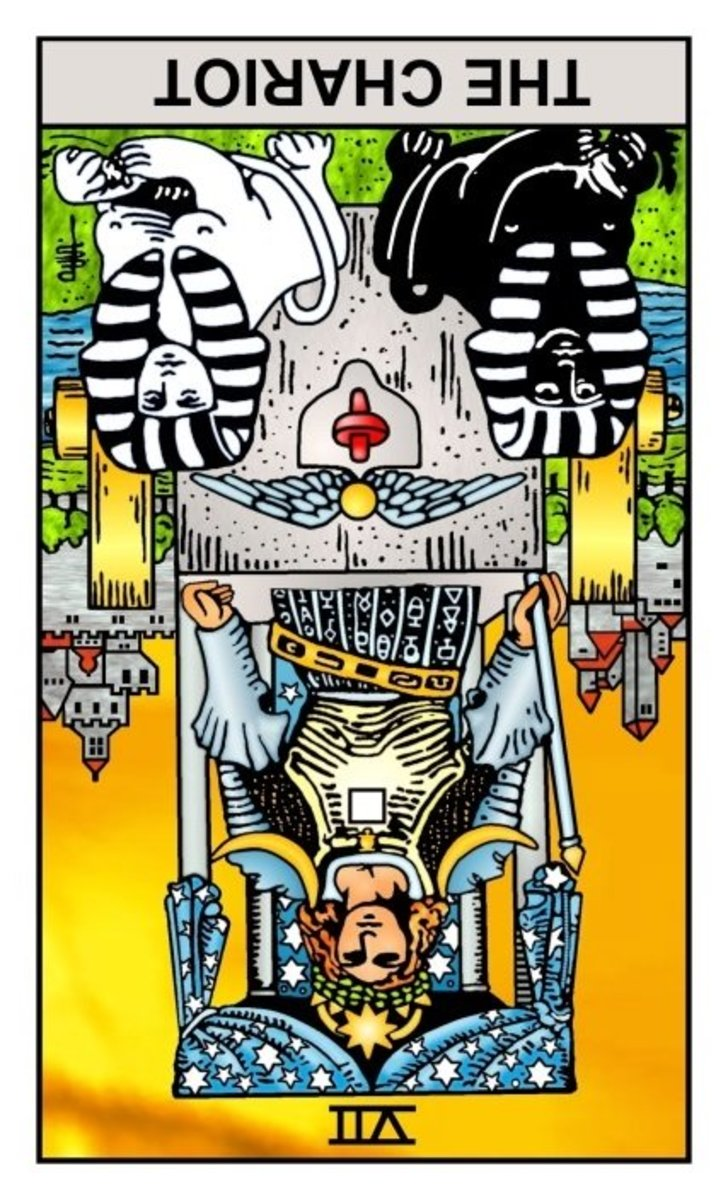 "This is ""The Chariot,"" reversed. Upright it means triumph and mind-over-matter. Reversed it means loss of focus or ""losing one's way."" Those things do happen, and a real Tarot reader will tell you so and how to avoid any pitfalls in your path."