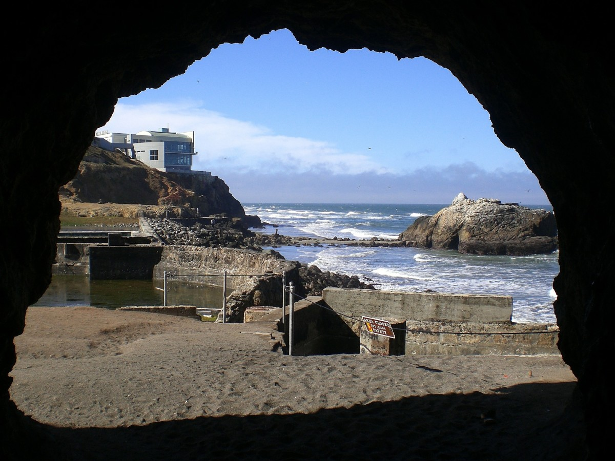 View of the Sutro ruins from a cave in the area