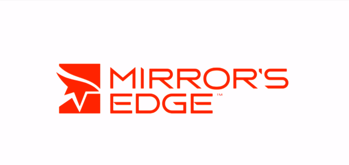 "The title logo for ""Mirror's Edge""."
