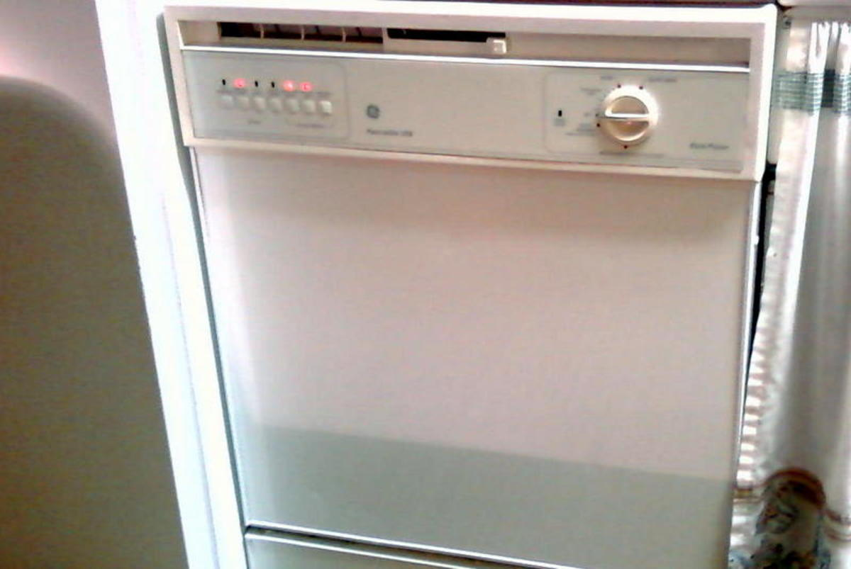 Front panel view. Your dishwasher is likely secured to the countertop with two screws at each corner above the front panel.