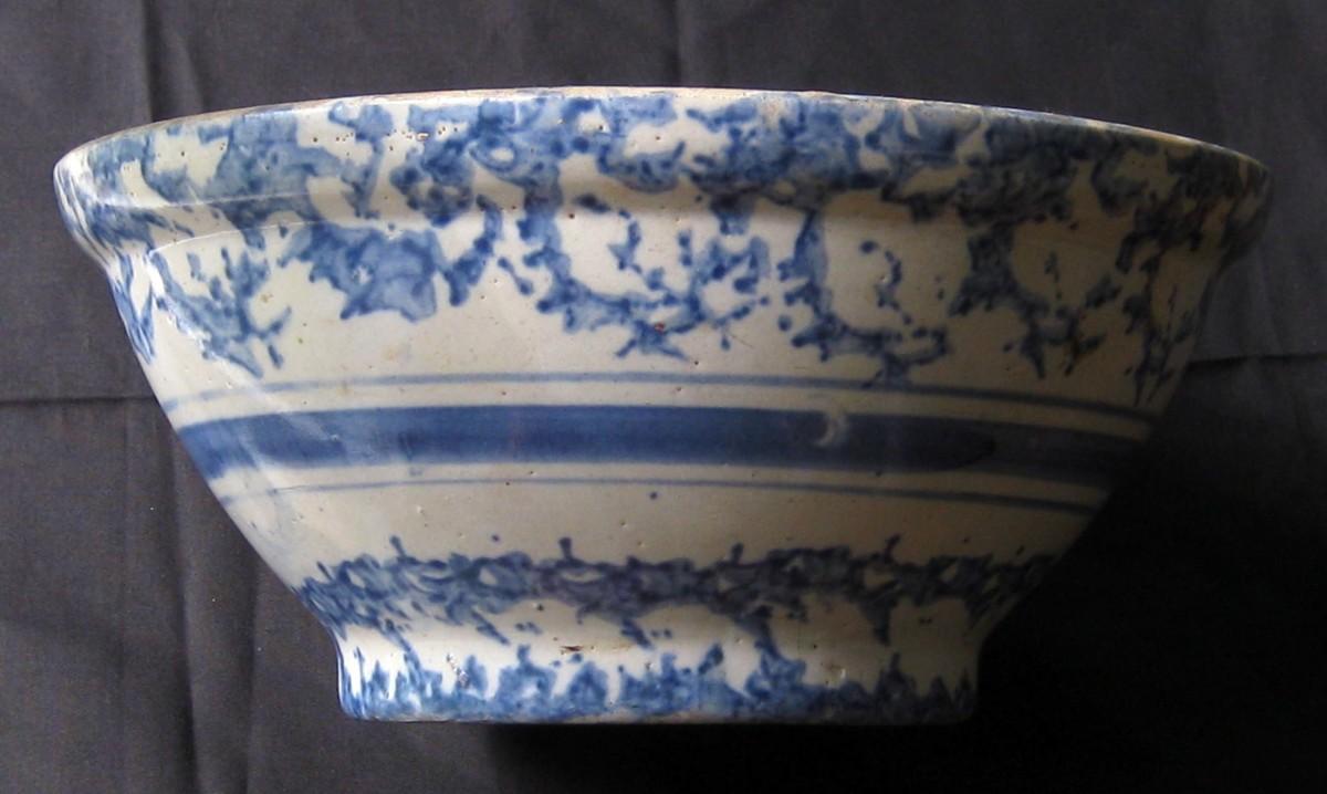 Antique Blue and White Spongeware bowl
