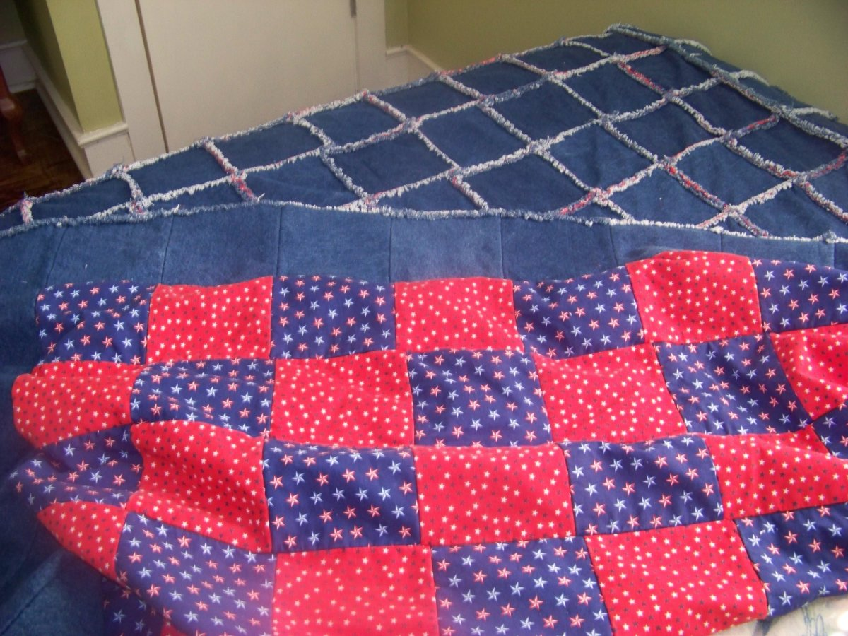 Finished Denim Rag Quilt with backing showing