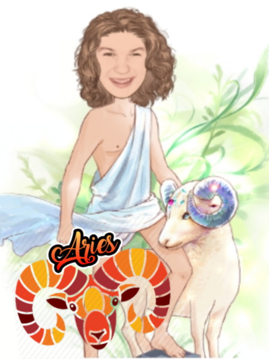 The Ram represents Aries. Picture made specifically for author, not for commercial use.