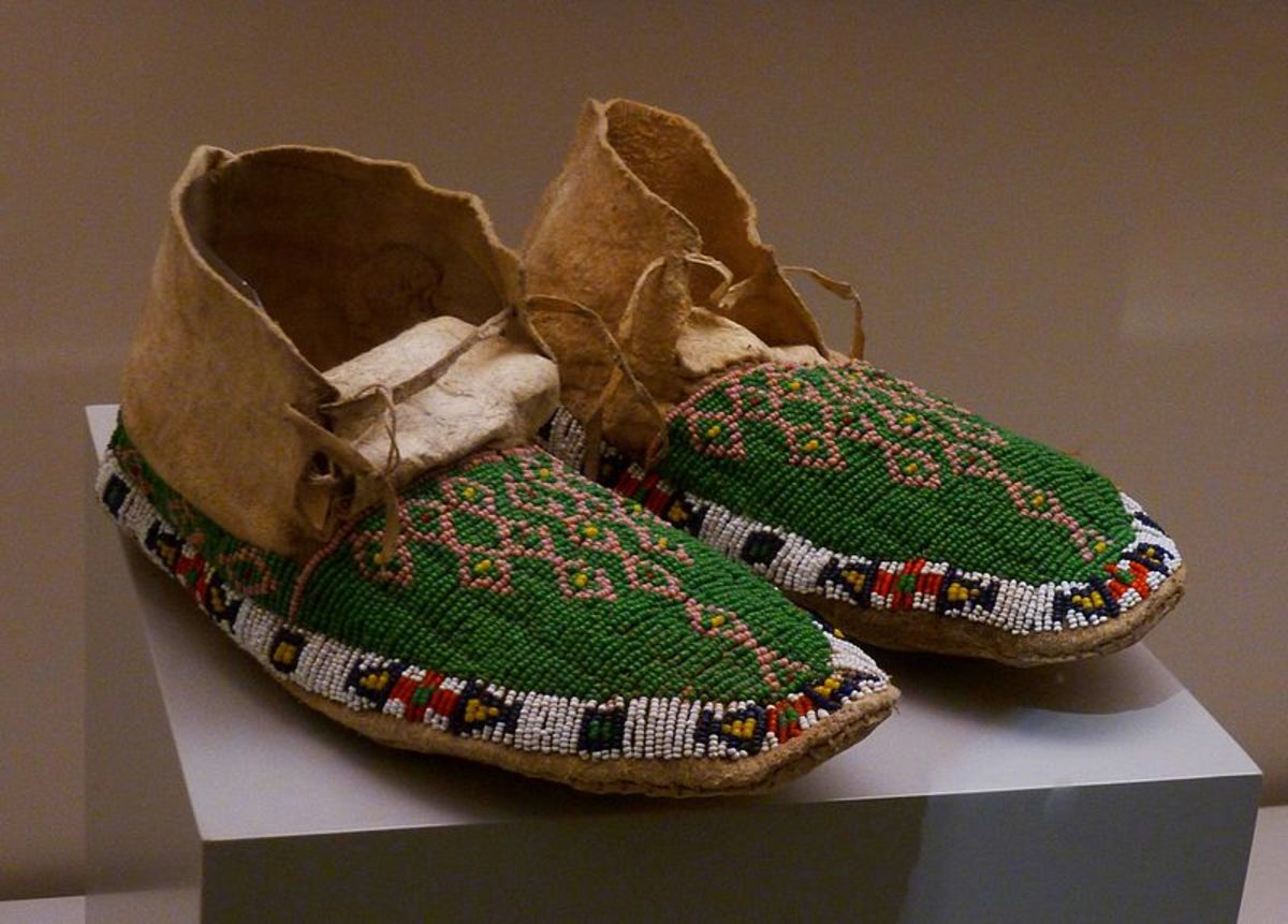 Moccasins can be beaded Like these Cheyenne ones.