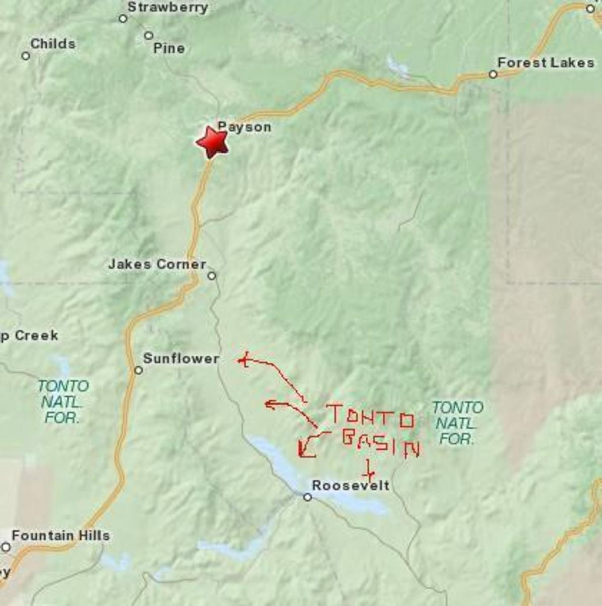 Boundaries of the Tonto Basin