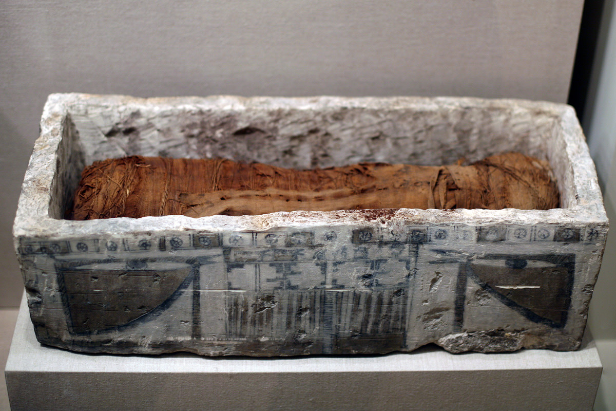 A Mummy Cat in Coffin on display at the Brooklyn Museum.