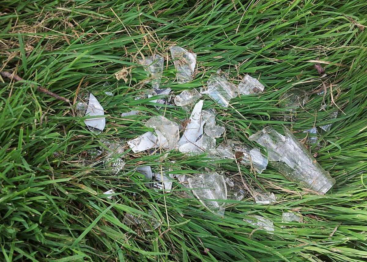 How to Remove Broken Glass From Grass and Yards