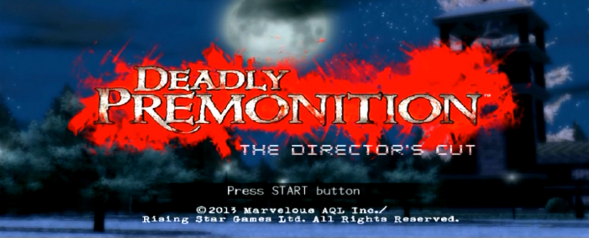 """The title screen for """"Deadly Premonition: The Director's Cut"""". The background scenery changes each time the game is loaded up which adds a nice touch."""