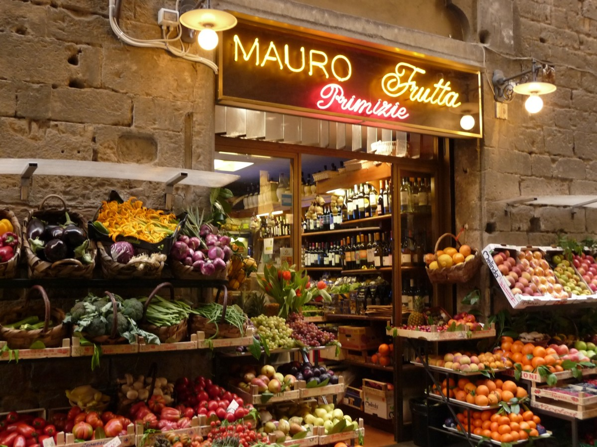 Traditional Italian fruit and vegetable stand.