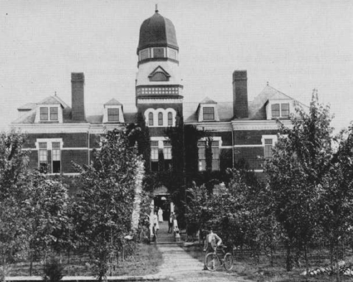 Built in 1893, this was how the first building on the future University of Oklahoma campus appeared.  All of the artifacts gathered for the Oklahoma History Museum was stored here.  The building burned down in 1903.